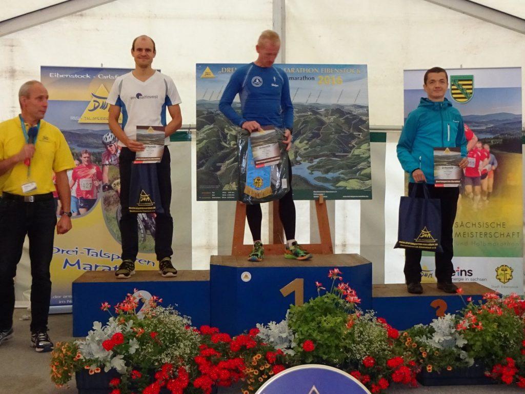Siegerehrung 3 Talsperren Marathon Eibenstock 2016