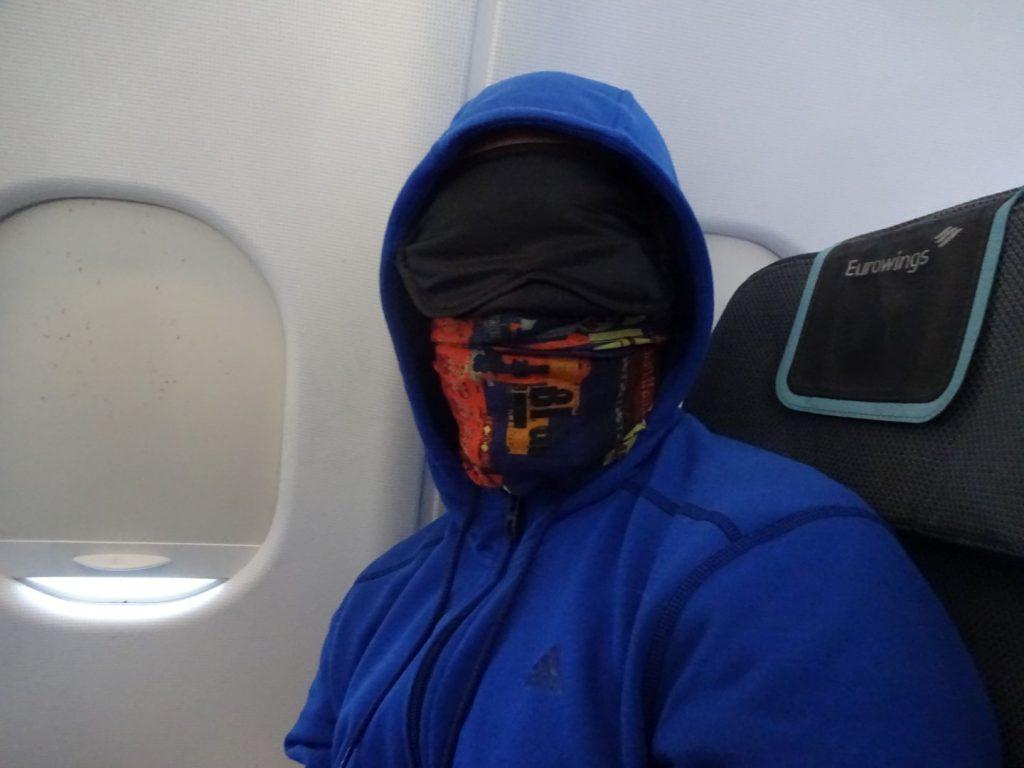 Augenmaske Ohrstöpsel Buff Tuch Flugzeug schlafen