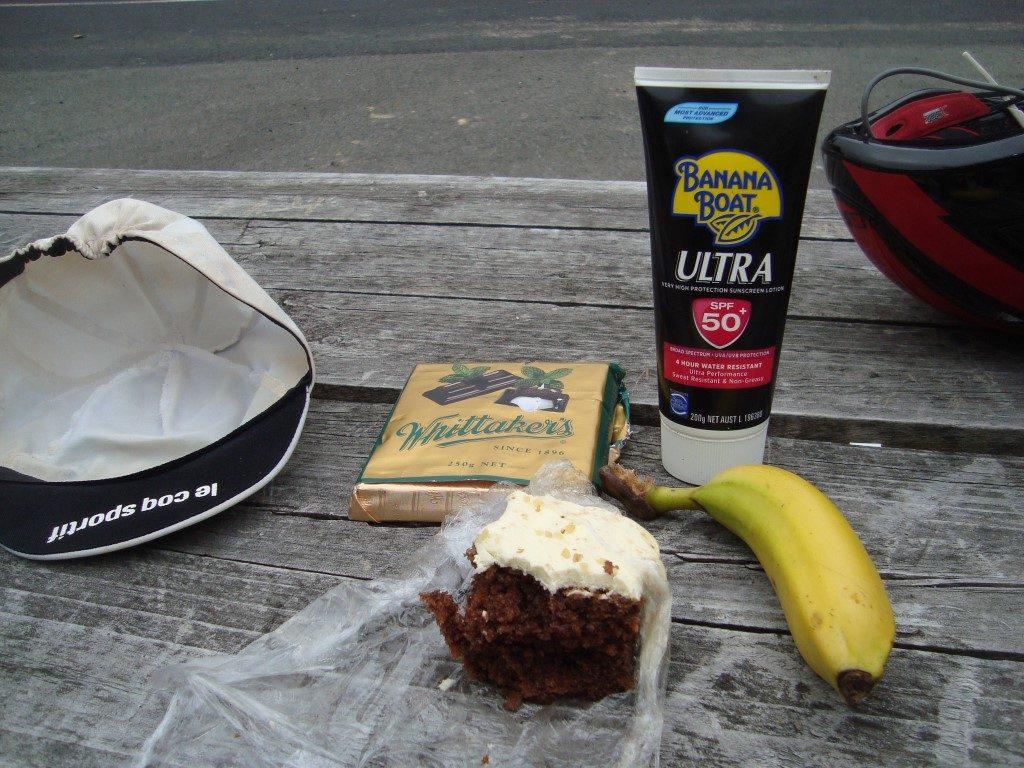 Pause Verpflegung Sonnencreme Radfahren Neuseeland