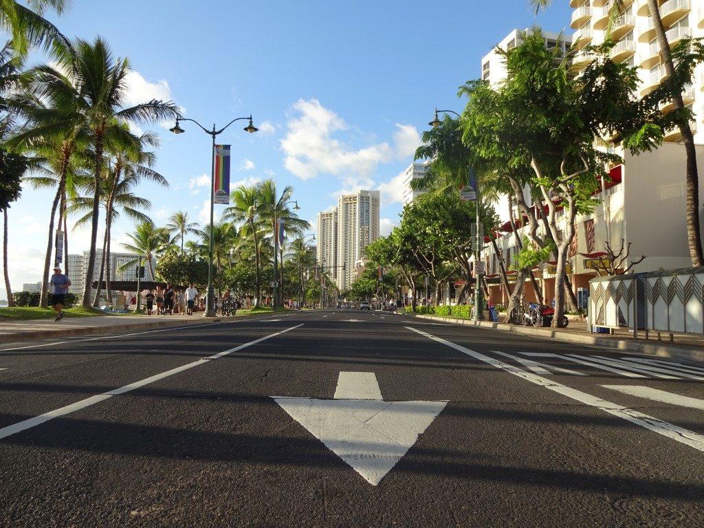 Kalakaua Avenue Waikiki Beach Straße Honolulu Oahu Hawaii