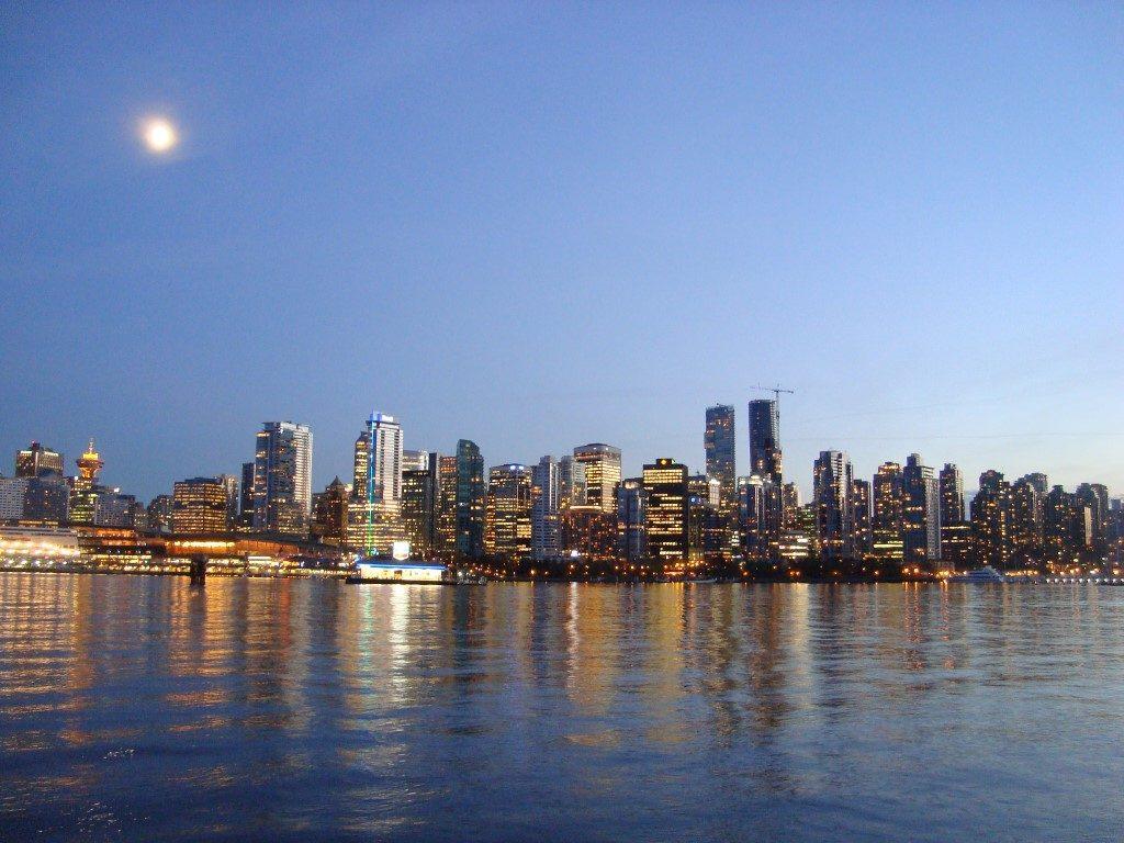Skyline Stadtzentrum Zentrum Stanley Park Vancouver Kanada
