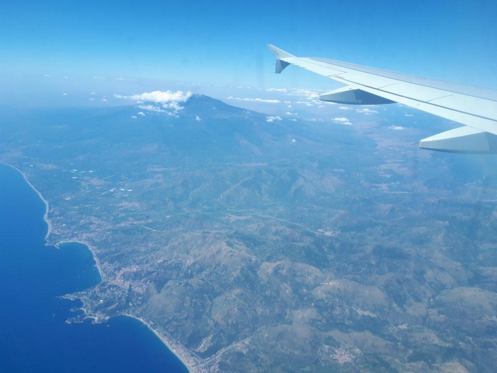 Ätna Vulkan Luft Flugzeug Sizilien Italien