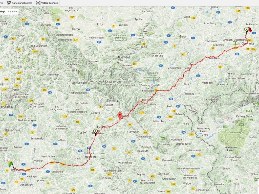 Radtour Würzburg Auerswalde Strecke
