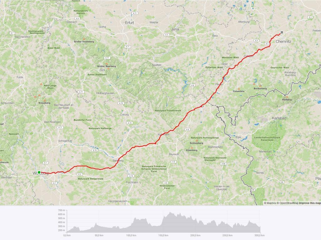 Radtour Würzburg Auerswalde Strecke 2018