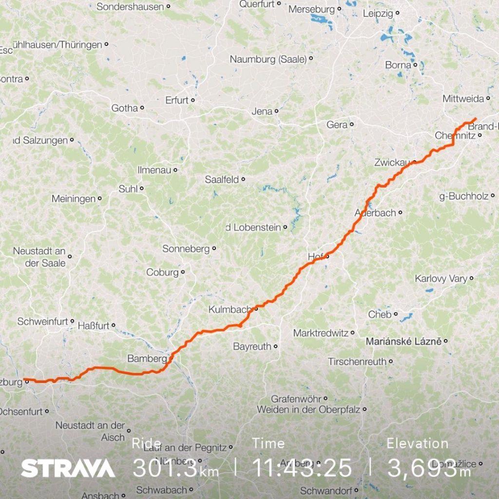 Radtour Würzburg Auerswalde Hitze 2018
