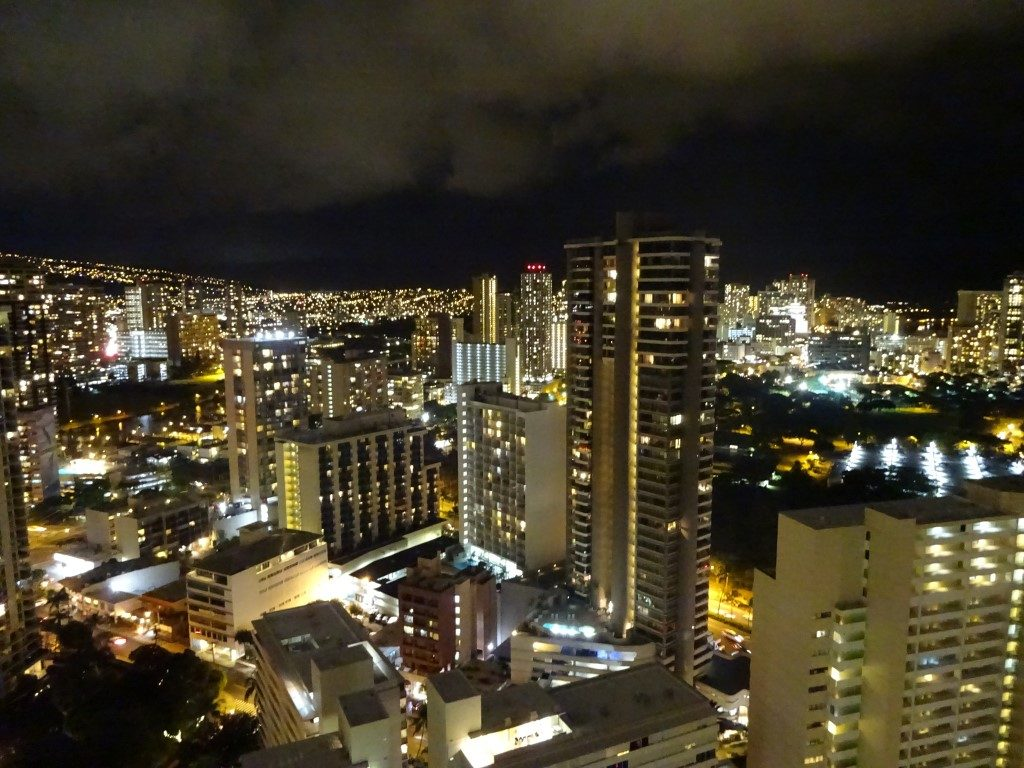 Skyline Nacht Ausblick Hobron Honolulu Waikiki Oahu Hawaii