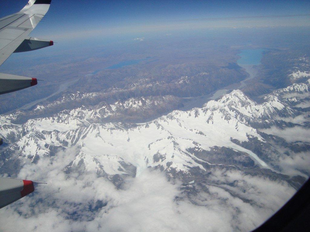 Südalpen Mount Cook Lake Tekapo Pukaki von oben Flugzeug Südinsel Neuseeland