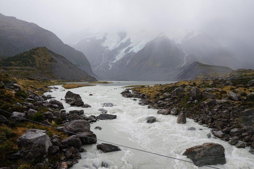 Aoraki Mount Cook Wetter Regen Südinsel Neuseeland