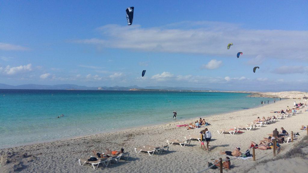 Windsurfen Kite Surfen Strand Playa Illetas Formentera Ibiza