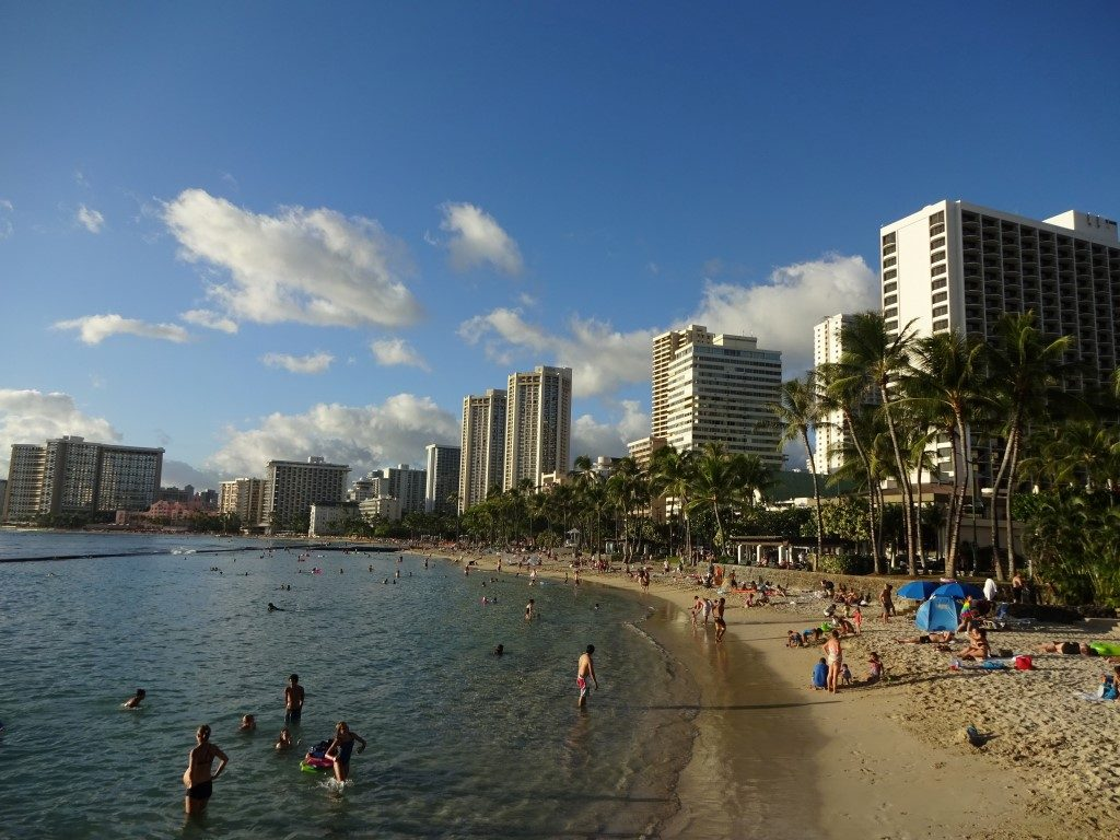 Waikiki Beach Surfen Strand Skyline Honolulu Oahu Hawaii