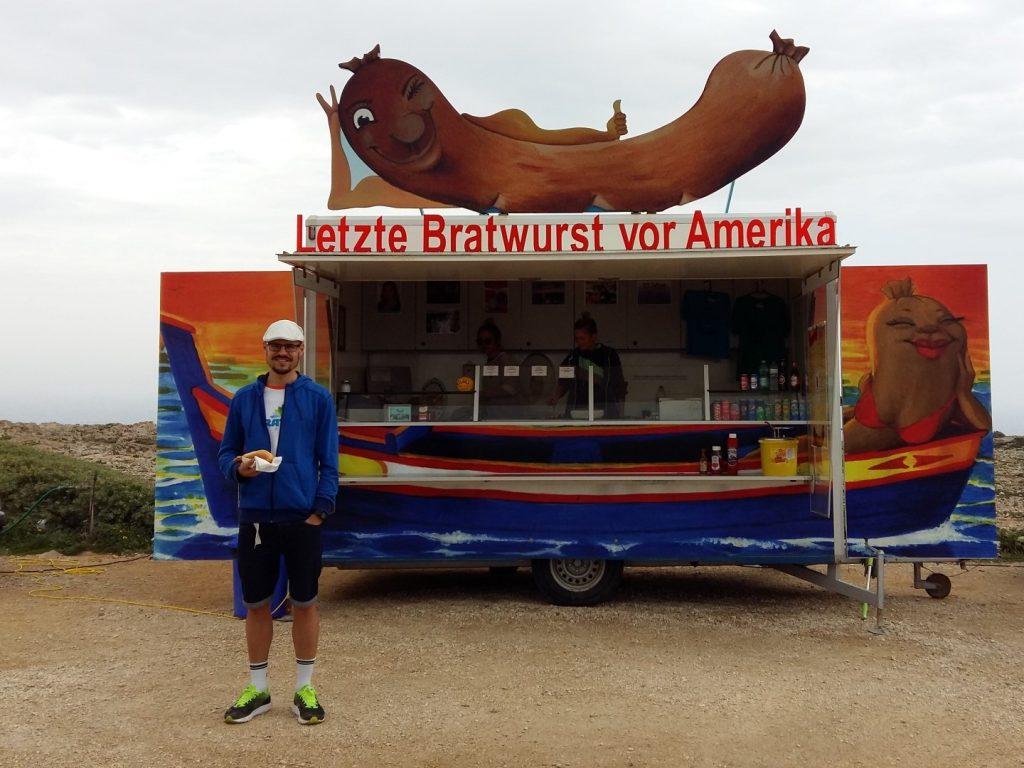 Cabo Sao Vicente Ende Welt letzte Bratwurst Amerika Algarve Portugal