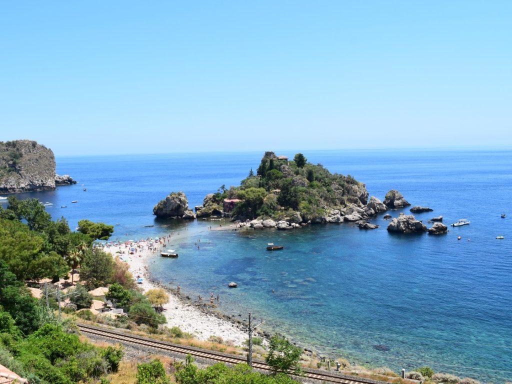 Isola Bella Strand Taormina Sizilien Italien