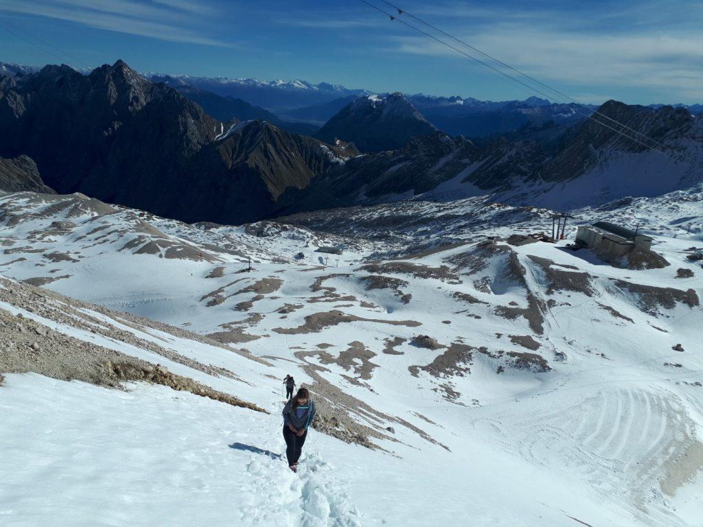 Schnee Schlussanstieg Zugspitze Alpen