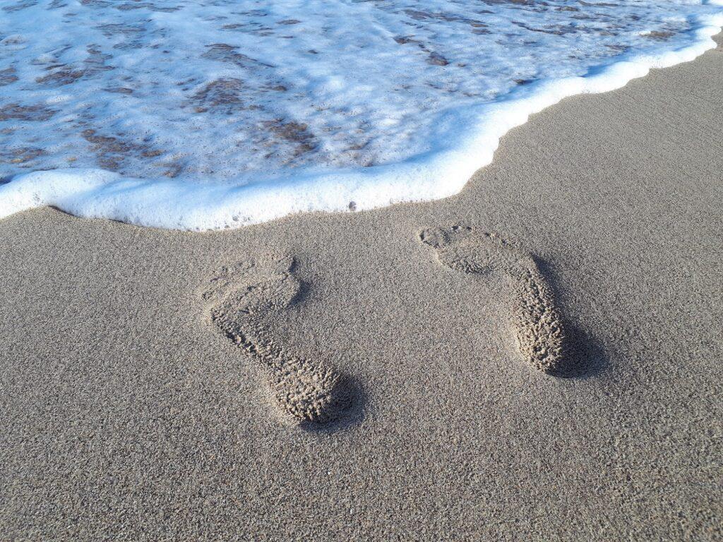 Strand Fußabdruck Lanzarote Kanaren