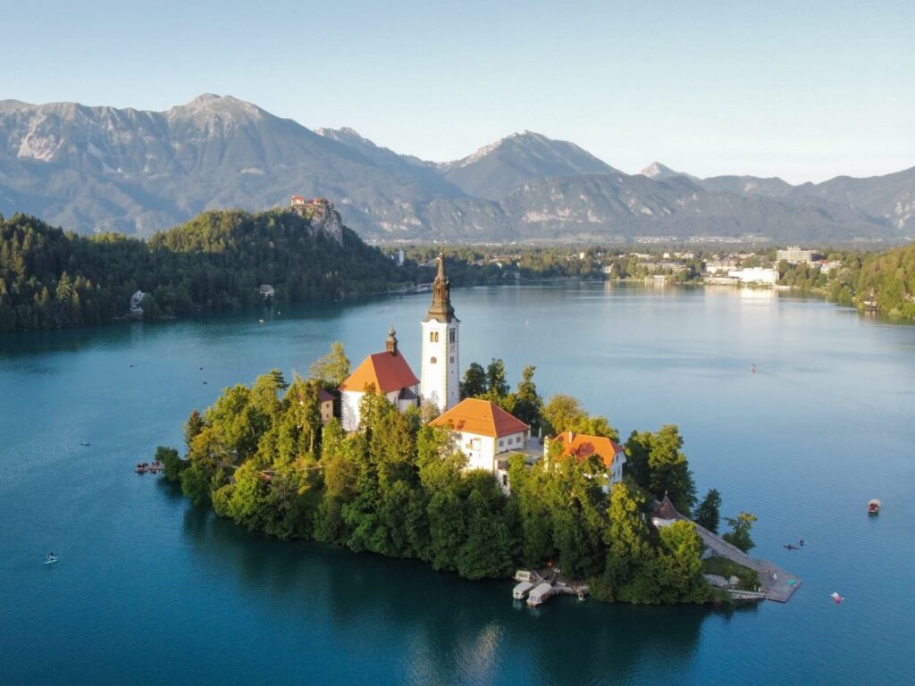 Bled See Insel Drohne Slowenien